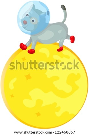 illustration of isolated space dog running on the moon - stock vector
