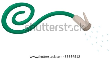 illustration of isolated tap water and rubber hose on white - stock vector