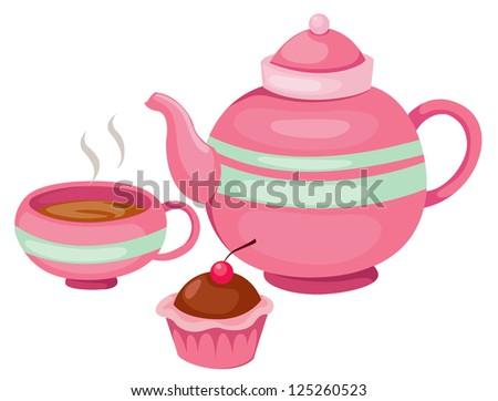 illustration of isolated tea pot set vector - stock vector