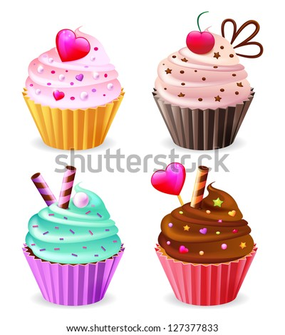 Illustration of isolated vector set of cupcakes on white background - stock vector