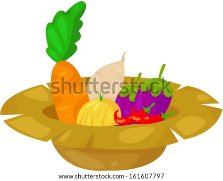 illustration of isolated vegetable in  rip hat - stock vector