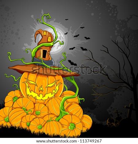 illustration of jack-o-lantern pumpkin in halloween night - stock vector