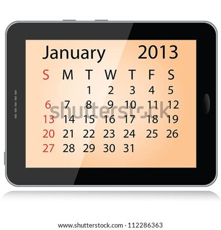 illustration of january 2013 calendar framed in a tablet pc. - stock vector
