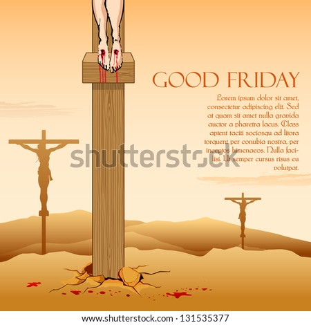 illustration of Jesus Christ crucifixion on Good Friday - stock vector