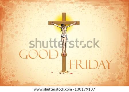 Illustration of Jesus Christ on cross on Good Friday background - stock vector