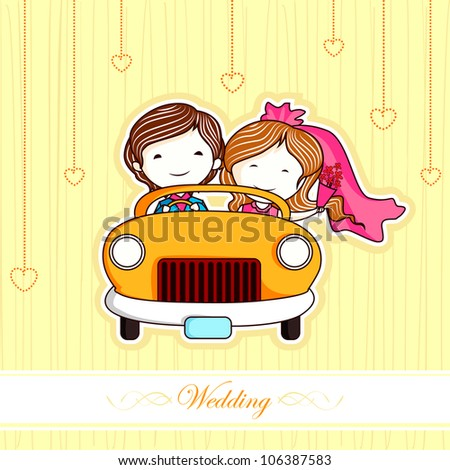 illustration of just married couple in car - stock vector