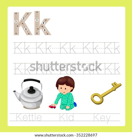 Illustration of K exercise A-Z cartoon vocabulary - stock vector