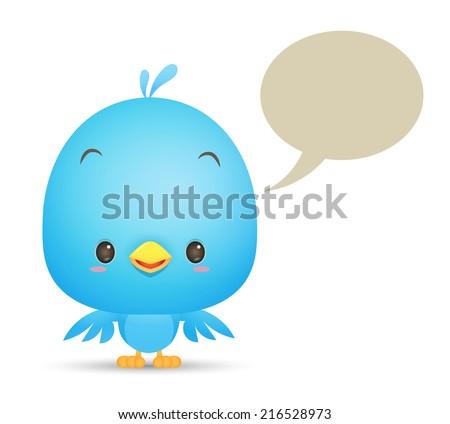 Illustration of Kawaii Blue Bird with blank bubble talk icon - stock vector