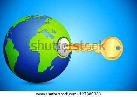 illustration of key entering in key hole in globe - stock vector