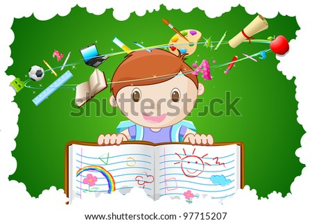 illustration of kid holding notebook with different education object - stock vector