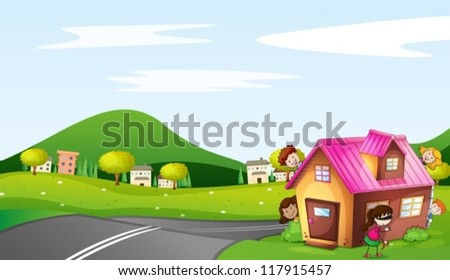 illustration of kids and a house in a beautiful nature - stock vector