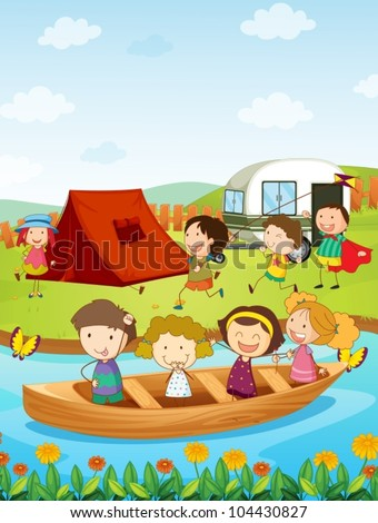 Illustration of kids camping - stock vector