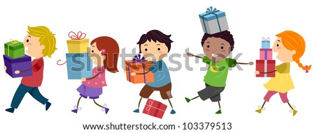 Illustration of Kids Carrying Gifts - stock vector