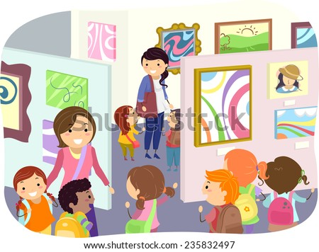 Illustration of Kids Checking Paintings in an Art Exhibit - stock vector