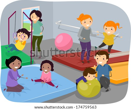 Illustration of Kids Enjoying a Day at the Gym Together with Their Parents - stock vector