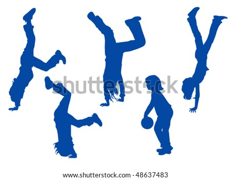 Illustration of kids exercising - stock vector
