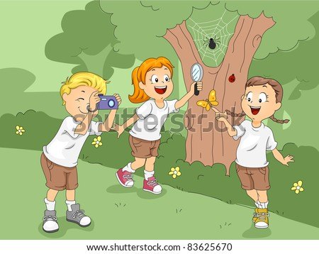 Illustration of Kids Exploring a Camp - stock vector