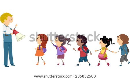 Illustration of Kids Following the Instructions of a Teacher During a School Drill - stock vector