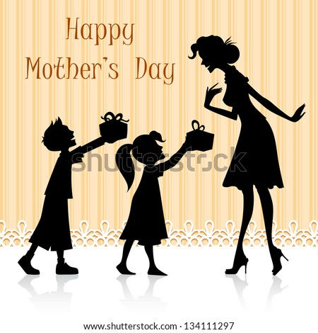 illustration of kids giving gift to mother on Mother's Day - stock vector