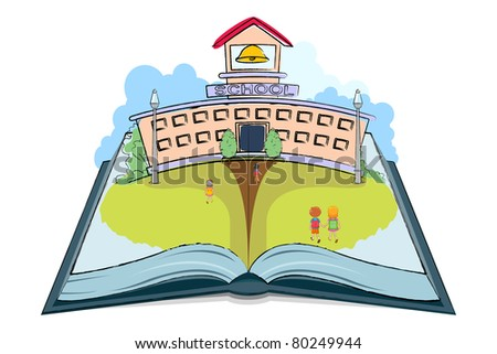 illustration of kids going to school on open book - stock vector