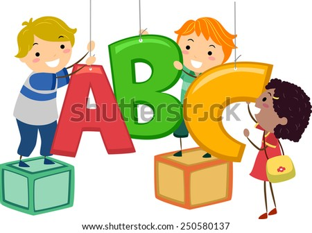 Illustration of Kids Hanging Decor in the Shape of Letters of the Alphabet - stock vector