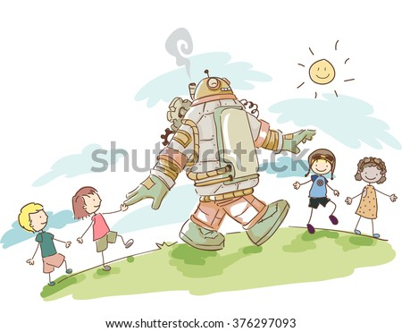 Illustration of Kids Having Fun Walking with their Steampunk Robot - stock vector