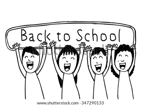 illustration of kids holding banner on white background - stock vector