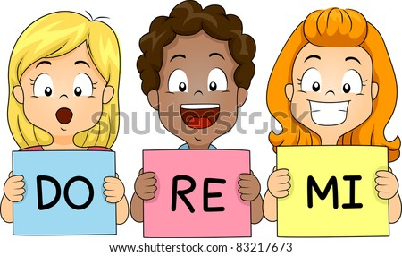 Illustration of Kids Holding Flashcards While Singing - stock vector