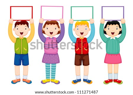 illustration of kids holding white blank - stock vector