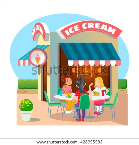 Illustration of Kids in a Canteen Buying and Eating Lunch - stock vector