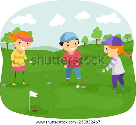 Illustration of Kids in a Golf Course Playing Golf - stock vector