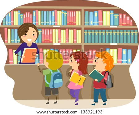 Illustration of Kids in a Library - stock vector