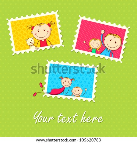 illustration of kids in different photo frame - stock vector