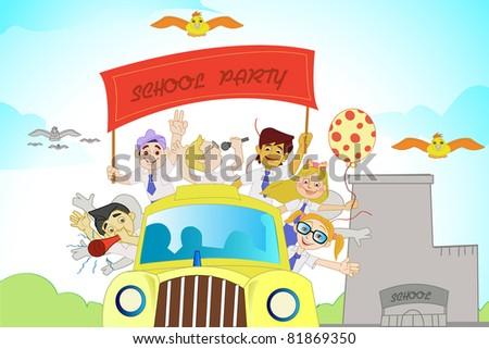 illustration of kids in school bus enjoying school party - stock vector