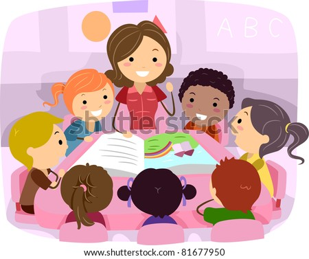 Illustration of Kids Listening to a Story - stock vector