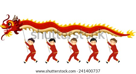 Illustration of Kids Performing a Dragon Dance for Chinese New Year - stock vector