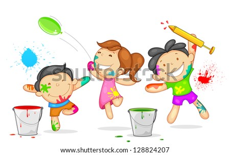 illustration of kids playing holi with color and pichkari - stock vector