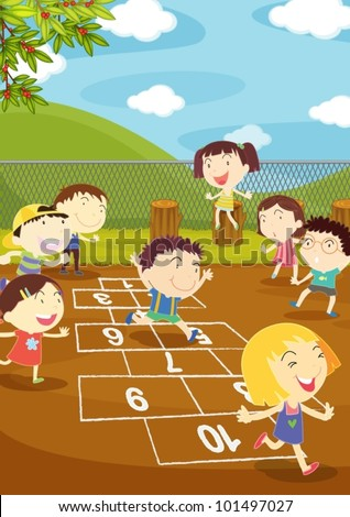 Illustration of kids playing hopscotch in a playground - stock vector