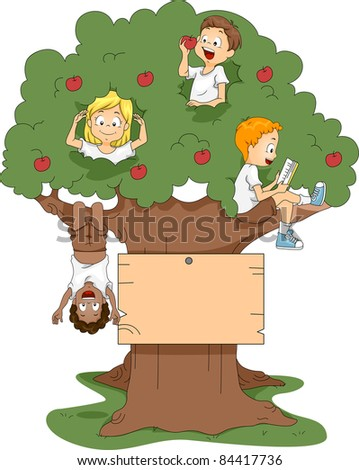 Illustration of Kids Playing in a Tree - stock vector