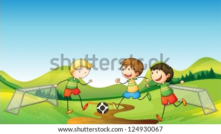 Illustration of kids playing soccer - stock vector