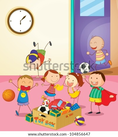 Kids Playing Together Clipart