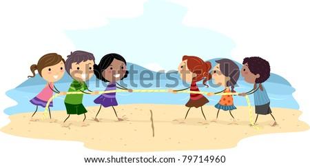 Illustration of Kids Playing Tug of War - stock vector