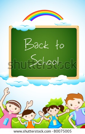 illustration of kids posing with chalk board on sky background - stock vector