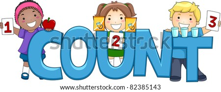 Illustration of Kids Posing with the Word Count - stock vector