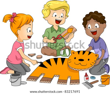 Illustration of Kids Practicing Paper Craft - stock vector