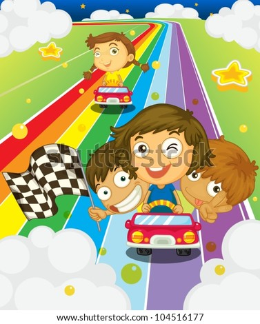 Illustration of kids racing on a rainbow - stock vector