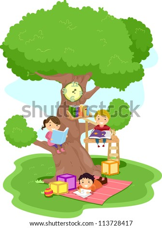 Illustration of Kids Reading in a Treehouse - stock vector