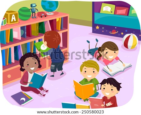 Illustration of Kids Reading Their Choice of Books for Reading Time - stock vector