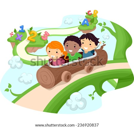 Illustration of Kids Riding a Hollow Log Down a Giant Vine - stock vector