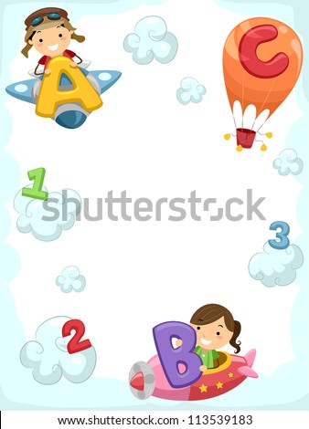 Illustration of Kids Riding Planes Carrying Letters of the Alphabet - stock vector